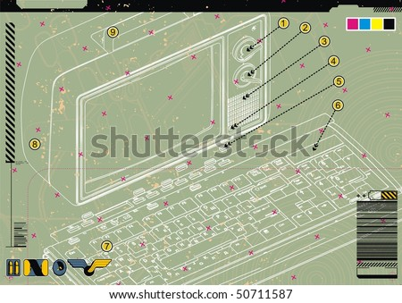 Technical diagram abstract of a retro computer. - stock vector