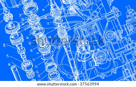 technical drawing background 3 - stock vector