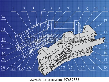 technical drawing 3D model Axial piston pump - stock vector