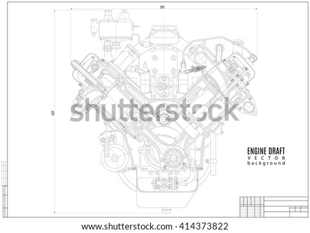 Technical Drawing Engine Construction Project Plan Stock Vector ...