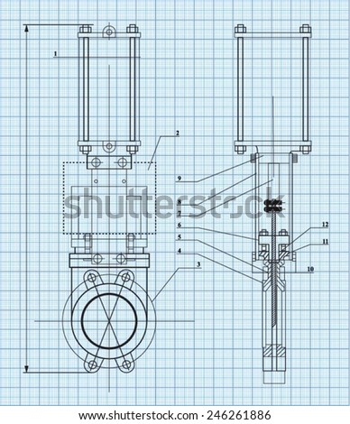 Technical drawing on millimeter paper. - stock vector
