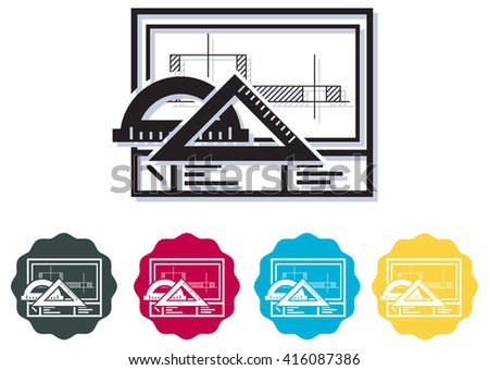 Technical Drawing Sheet - Icon - stock vector