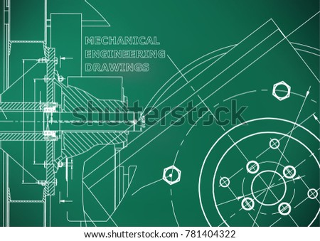 Technical illustration. Mechanical engineering. Background. Light green background