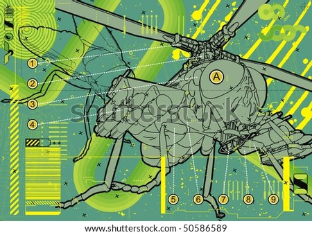 Technical illustration of a common housefly with augmented components. - stock vector