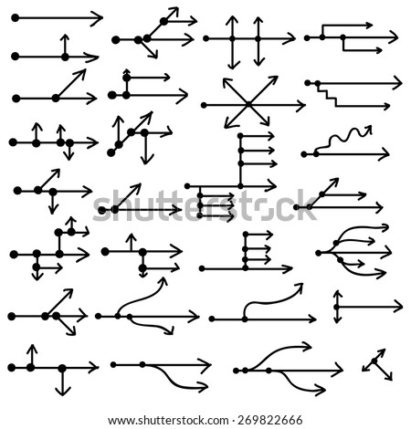 Technical simple hand drawn arrows made in vector. Fully editable business design element. - stock vector