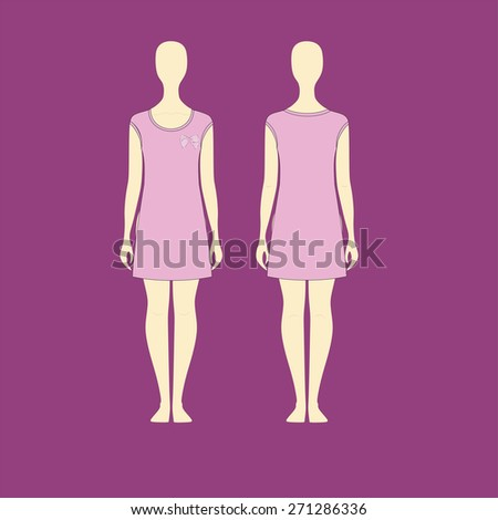Technical sketch of a girl in a dress - stock vector