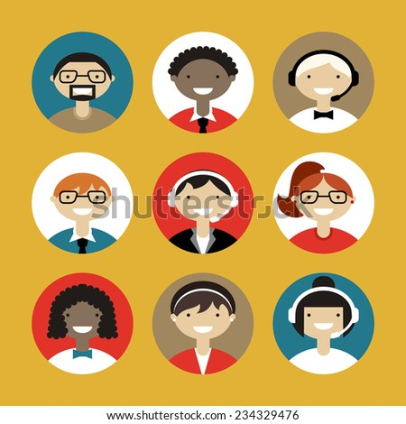 Technical support banners set assistant mans and woman with icons flat design vector illustration  - stock vector