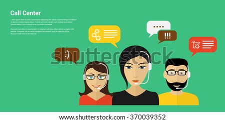 Technical support call center concept. Flat design concept for web banners, web sites, printed materials, infographics. - stock vector