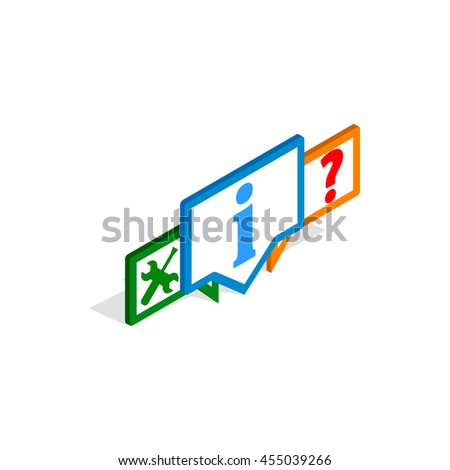Technical support icon in isometric 3d style isolated on white background. Help symbol - stock vector