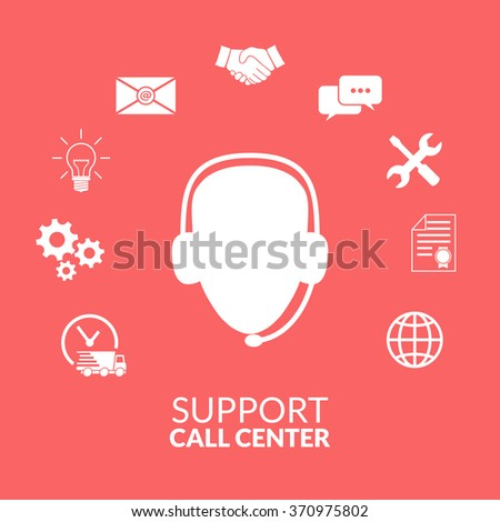 Technical support operator flat vector icon - stock vector