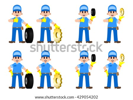 technician set 01 - garage worker - stock vector