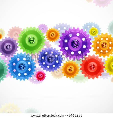 Techno background with colorful gears. Industrial image. - stock vector