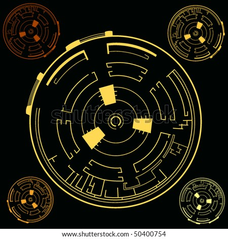 techno illustration on black background - stock vector