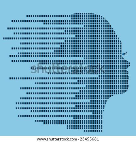 techno profile of woman - stock vector