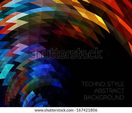 techno style abstract geometric background - stock vector