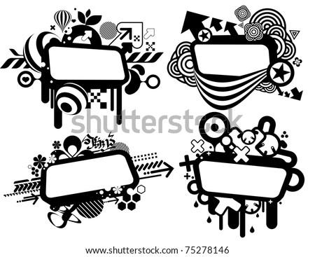 techno style banner templates - stock vector