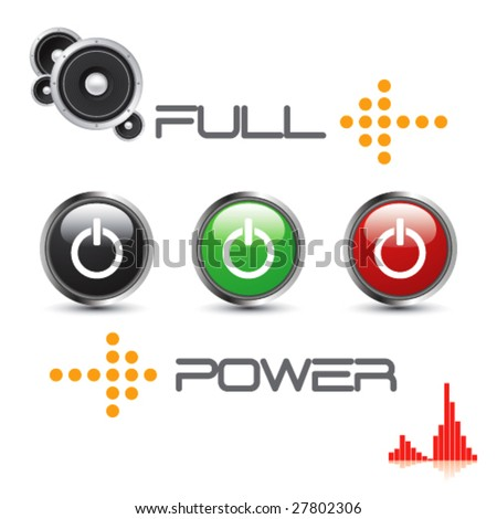 Technological Background With Set Of Power Icons -Vector Art- - stock vector
