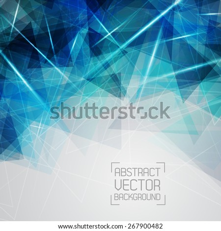 Technological blue background with a pattern of triangles and lines. For web design and business presentations. Vector. Place for your text. - stock vector