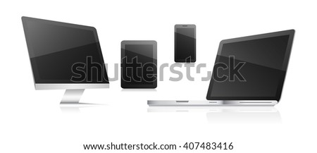 Technological communication devices on a white background. Computer, tablet, smart phone and laptop. Vector illustration.