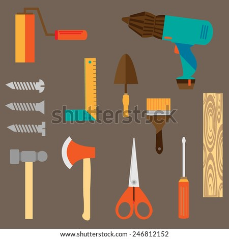 technological engineering tools equipment vector set