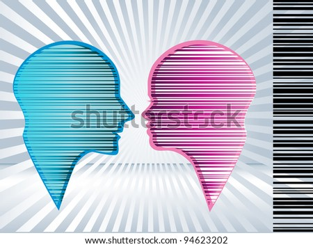 Technological male and female - stock vector