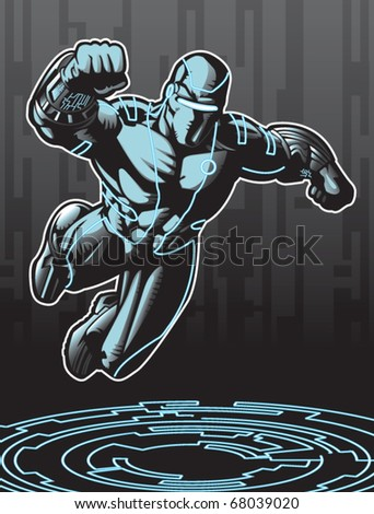 Technologically advanced looking superhero in a cyber environment. - stock vector