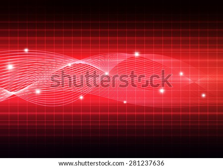 Technology abstract background with wave and grid, vector illustration - stock vector