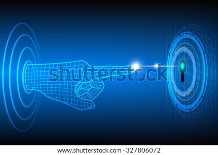 Technology abstract of privacy and security concept with finger scanner, Vector illustration - stock vector