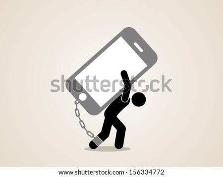 technology addiction - stock vector