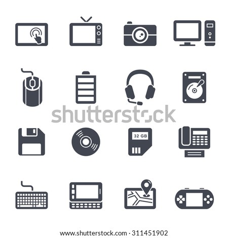 Technology and Devices Icon on White Background