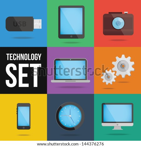 technology and devices icons set - stock vector