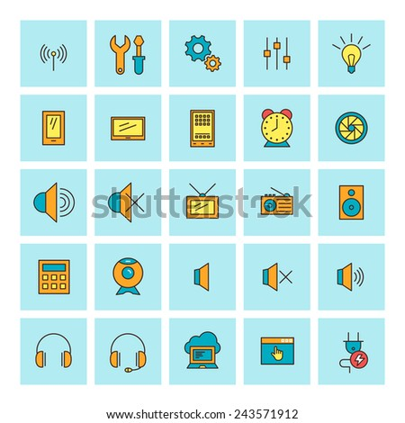 Technology and electronic devices. Vector icon set in flat design style. For web site design and mobile apps. - stock vector
