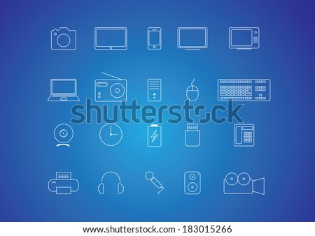 Technology and gadget thin line icon set - stock vector