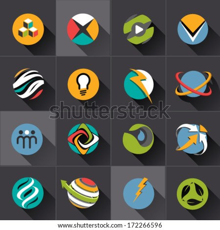 Technology and green energy web sphere Icons set and vector logos - stock vector