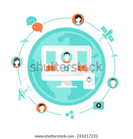 Technology and People Icons Illustration. Computer and Cell Phone Application Used for Connecting People Worldwide.  - stock vector