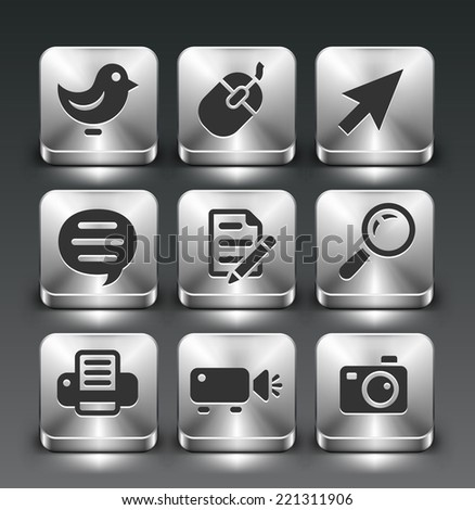Technology and Social Network on Silver Square Buttons - stock vector