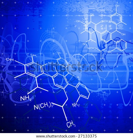 technology background: chemical formulas - stock vector