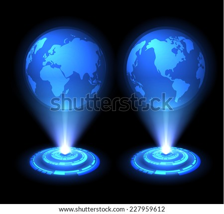 Technology background. Vector world map globes. Eastern and western hemispheres. Eps10. Hologram stylised. - stock vector