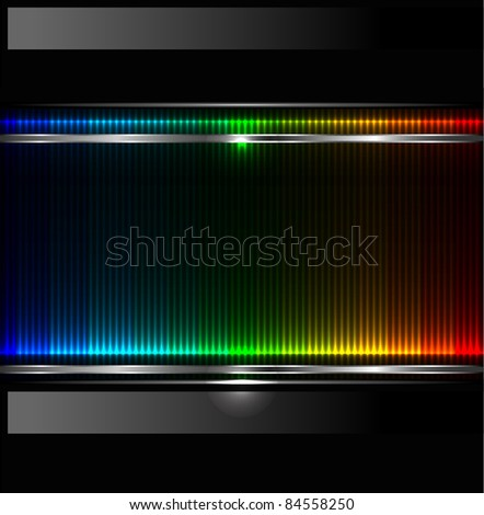 Technology background with metallic banner. vector - stock vector