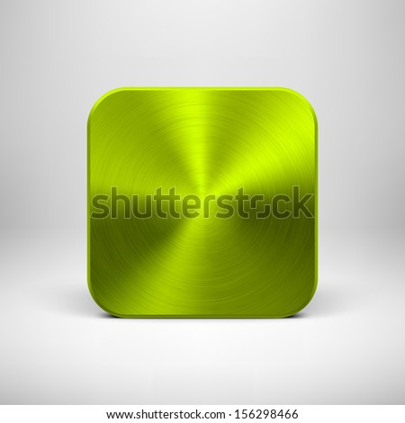 Technology blank app icon (button) template with green (lime) metal texture (chrome, silver, steel), realistic shadow and light background for interfaces (UI), applications (apps) and presentations. - stock vector