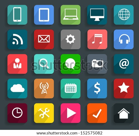 Technology business flat icons, Vector illustration modern template design - stock vector