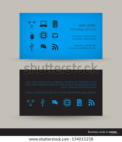 Technology business visit card icons black stock vector 134015258 technology business visit card with icons in black blue combination in vector colourmoves