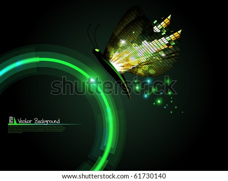 Technology circle with mosaic butterfly background. Vector illustration. - stock vector