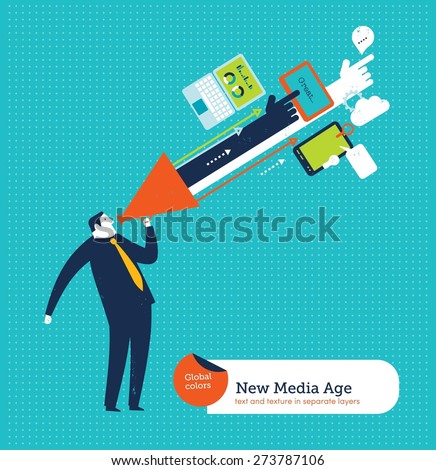 Technology coming out of a businessman's megaphone. Vector illustration Eps10 file. Global colors. Text and Texture in separate layers. - stock vector