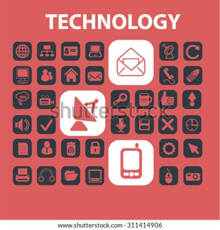 technology concept icons, signs set, vector - stock vector