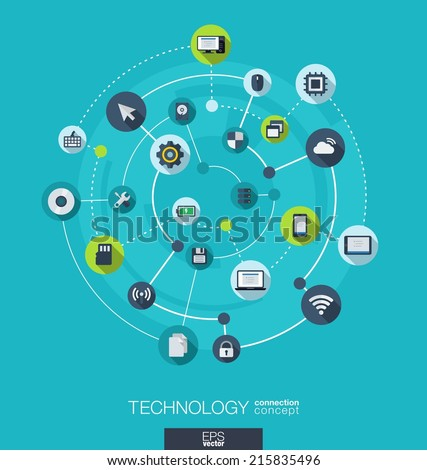 Technology connection concept. Abstract background with integrated circles and icons for digital, internet, network, connect, social media, global concepts. Vector infograph illustration. Flat design
