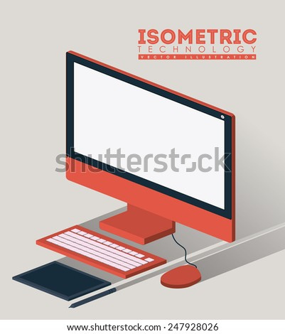 Technology design over beige background, vector illustration.