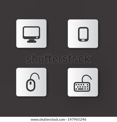 Technology device icons,vector - stock vector
