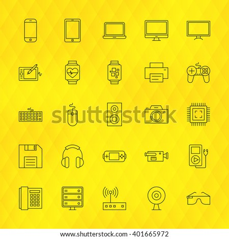Technology Devices Line Icons Set over Polygonal Background. Vector Set of Modern Thin Outline Electronics and Gadgets Items.