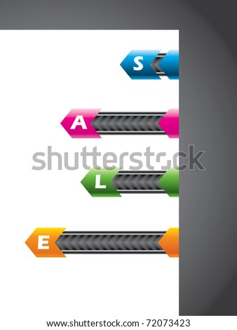 Technology elements on paper corner - stock vector